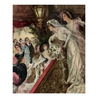 Vintage Newlyweds, Victorian Bride Tossing Bouquet Poster