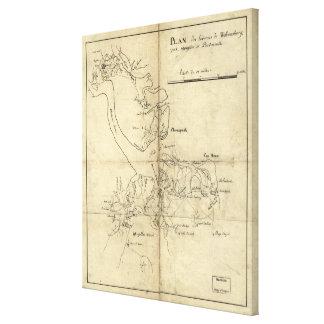 Vintage Newport News and Hampton Roads Map (1800) Canvas Print