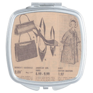Vintage Newspaper Ad Compact Travel Mirrors