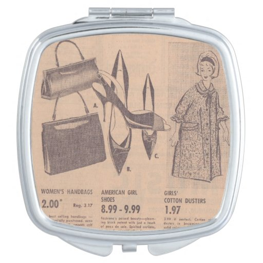 Vintage Newspaper Ad Compact Mirrors For Makeup