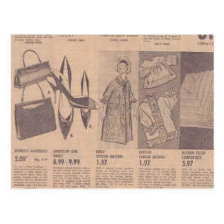Vintage Newspaper Ads Postcard
