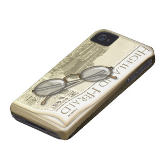 Vintage Newspaper and Spectacles Case-Mate iPhone 4 Case