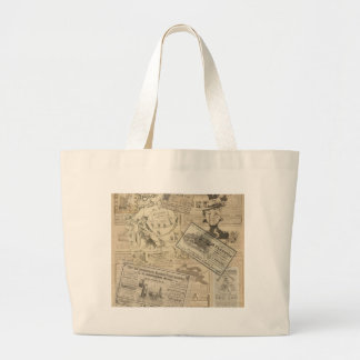 Vintage newspaper large tote bag
