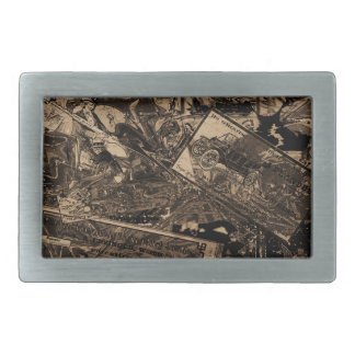 Vintage newspaper rectangular belt buckle