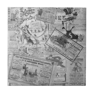 Vintage newspaper small square tile