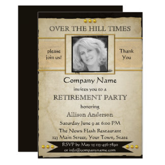 Vintage Newspaper Style Photo Retirement Invite