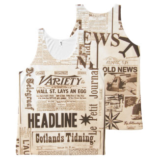 Vintage Newspaper Typography Old Ads News All-Over Print Singlet