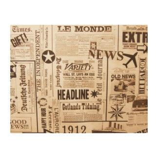 Vintage Newspaper Wood Wall Art