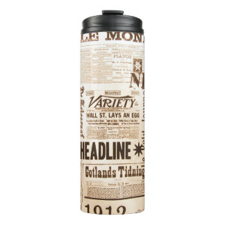 Vintage Newsprint Thermal Tumbler