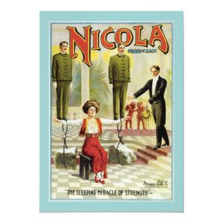 Vintage Nicola Magician Poster 13 Cm X 18 Cm Invitation Card
