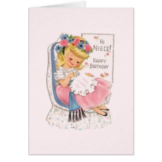 Vintage Niece Cross Stitch Birthday Card