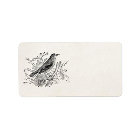 Vintage Nightingale Bird Personalised Retro Birds Label