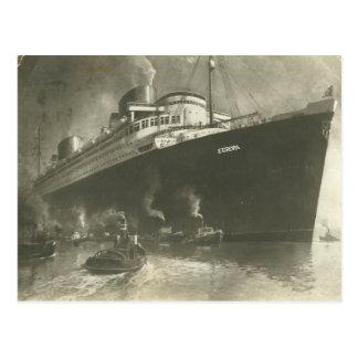 Vintage Norddeutsche Lloyd  D. Europa Cargo ship Postcard