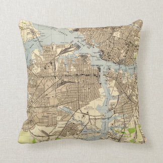 Vintage Norfolk & Portsmouth Virginia Map (1944) Cushion