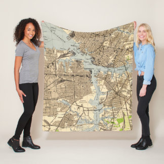 Vintage Norfolk & Portsmouth Virginia Map (1944) Fleece Blanket