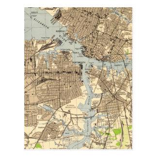 Vintage Norfolk & Portsmouth Virginia Map (1944) Postcard