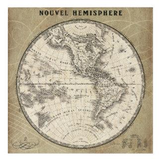 Vintage Northern Hemisphere Map Acrylic Wall Art