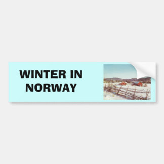 Vintage Norway, farmhouse at Christmas Bumper Sticker