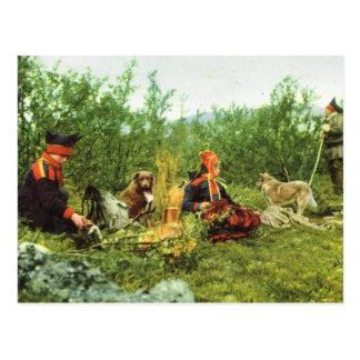 Vintage Norway, Lapland, Sami family fireside Postcard