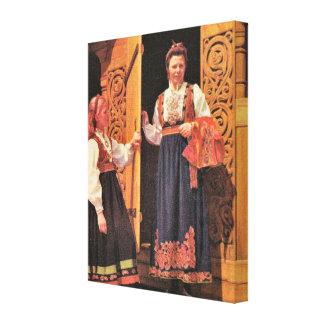 Vintage Norway Norwegian traditional costume Canvas Print