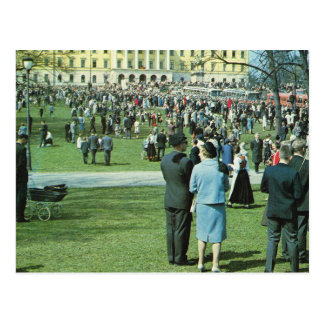 Vintage Norway,  Oslo, Palace gardens Postcard