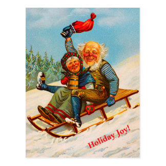 Vintage Norwegian Christmas Couple Sledding (copy) Postcard