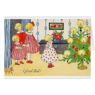 Vintage Norwegian Glad Jul Christmas Card