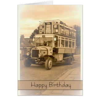 Vintage Nostalgia Retro Birthday Card - Old Bus