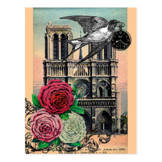 Vintage Notre Dame, Swallow, Roses, Collage Postcard