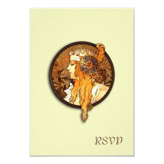 "Vintage Nouveau Bride Wedding RSVP Card 3.5"" X 5"" Invitation Card"