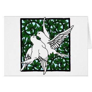 Vintage Nouveau Kissing Doves Card
