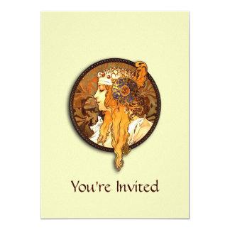 "Vintage Nouveau Lady Bridal Shower Invitation 5"" X 7"" Invitation Card"