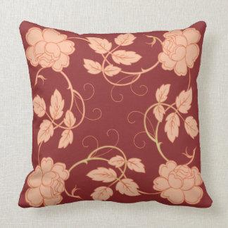 Vintage Nouveau Roses Throw Pillow