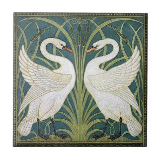 Vintage Nouveau Swans Ceramic Tile