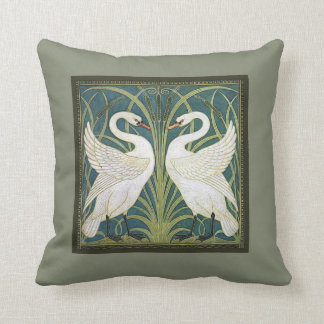 Vintage Nouveau Swans Throw Pillow
