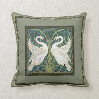 Vintage Nouveau Swans Throw Pillow