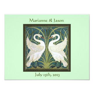 "Vintage Nouveau Swans Wedding Invitation 4.25"" X 5.5"" Invitation Card"