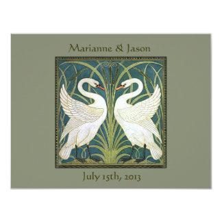 "Vintage Nouveau Swans Wedding Invitation 2 4.25"" X 5.5"" Invitation Card"
