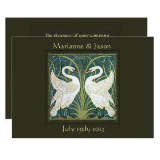 Vintage Nouveau Swans Wedding Invitation 4