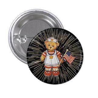 Vintage Nurse Bear with Modern White Fireworks Pinback Buttons