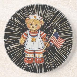 Vintage Nurse Bear with Modern White Fireworks Beverage Coaster