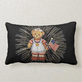 Vintage Nurse Bear with Modern White Fireworks Pillow