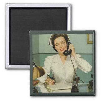 Vintage Nurse on the Phone Magnet