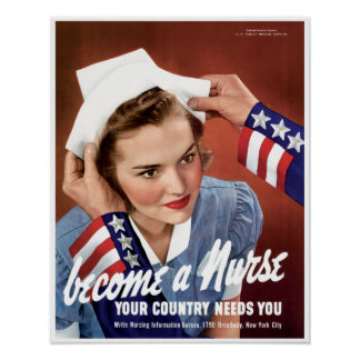 Vintage Nurse World War 2 Poster