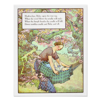 Vintage Nursery Print- Hush-a-bye, Baby Poster