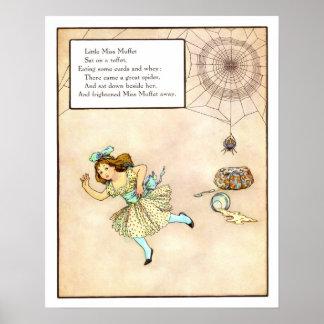 Vintage Nursery Print- Little Miss Muffet Poster