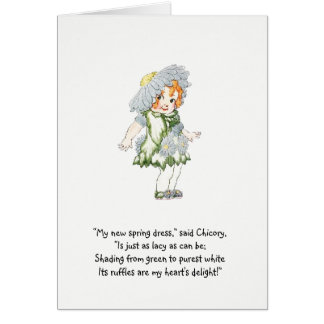 Vintage Nursery Rhyme Flower Child Chicory Cute Card