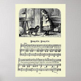 Vintage Nursery Rhymes Image - Pussy Cat Poster