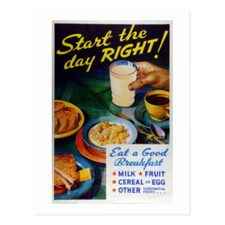 Vintage Nutrition Eat Breakfast Milk Fruit Cereal Postcard