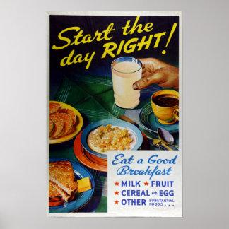 Vintage Nutrition Eat Breakfast Milk Fruit Cereal Poster